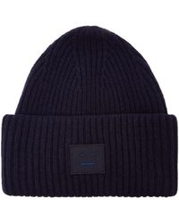 Acne Studios - Ladies Navy Blue Wool Pansy Ribbed Beanie - Lyst