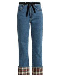 Isa Arfen - Tartan And Velvet Trimmed Straight Leg Jeans - Lyst