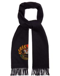 Burberry - Logo Crest-embroidered Cashmere Scarf - Lyst