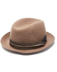 3d2ac37909b Giorgio Armani - Grosgrain-trimmed Wool-felt Trilby Hat - Lyst