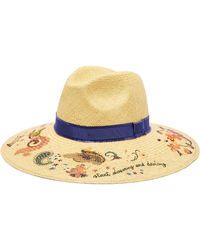Etro - Printed Straw Panama Hat - Lyst
