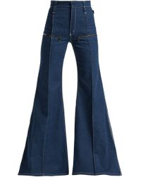 Chloé - Contrast Topstitching Flared Jeans - Lyst
