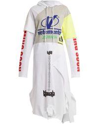 Vetements - Hooded Contrast-panel Cotton Sweatshirt Dress - Lyst