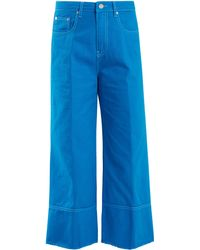 MSGM - High Rise Wide Leg Cropped Jeans - Lyst