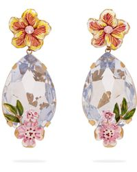 Dolce & Gabbana - Crystal And Floral Embellished Earrings - Lyst