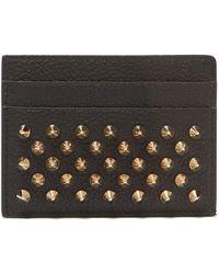 Christian Louboutin - Kios Spike Embellished Leather Cardholder - Lyst