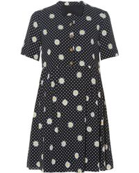 Saint Laurent - Bow Tie-embellished Daisy-print Dress - Lyst
