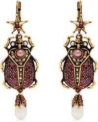 Alexander McQueen - Crystal Embellished Beetle Drop Earrings - Lyst