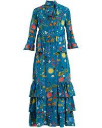 d126012bc6bd0 Borgo De Nor - Aude Surreal Garden Print Silk Dress - Lyst