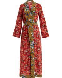 Anjuna Selene Paisley Print Silk Robe - Red