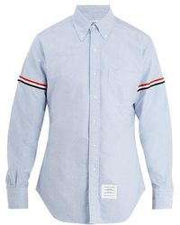 Thom Browne - Striped Web Armband Creased Poplin Shirt In Blue - Lyst