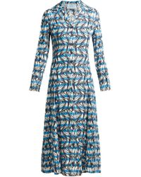 Prada - Banana-print Striped Shirtdress - Lyst
