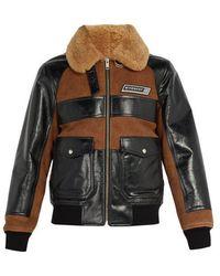 Givenchy - - Veste en shearling et daim à empiècement logo - Lyst