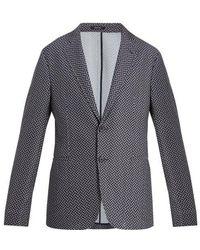 Giorgio Armani - - Single Breasted Chevron Jacquard Blazer - Mens - Blue Multi - Lyst