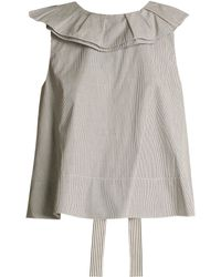 Tibi - Ruffle Trimmed Striped Cotton Cropped Top - Lyst