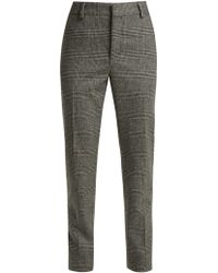 Saint Laurent - Prince Of Wales Check Wool Trousers - Lyst