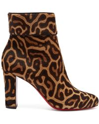 Christian Louboutin - Moulamax 85 Leopard-print Pony-hair Ankle Boots - Lyst