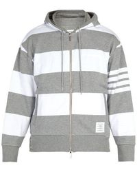 Thom Browne - Striped Hooded Cotton Sweatshirt - Lyst