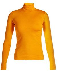 CALVIN KLEIN 205W39NYC - Logo-embroidered Roll-neck Jersey Top - Lyst