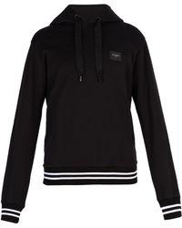 Dolce & Gabbana - Logo Patch Cotton Hooded Sweatshirt - Lyst