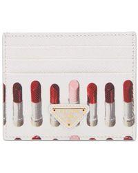 Prada - - Lipstick Print Saffiano Leather Cardholder - Womens - White Multi - Lyst