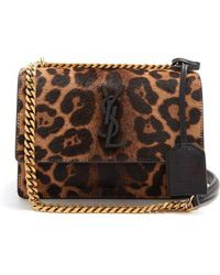 Saint Laurent - Sunset Small Leopard-print Calf-hair Bag - Lyst