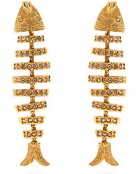 Oscar de la Renta - Fish Crystal Embellished Earrings - Lyst