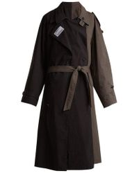 Vetements - - Contrasting Colour Double Trench Coat - Womens - Black Grey - Lyst