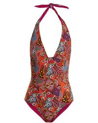 Etro - Abstract Floral-print Swimsuit - Lyst