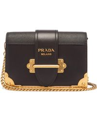 e58f718029 Prada - Cahier Leather Shoulder Bag - Lyst