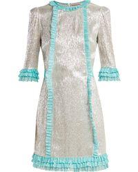 The Vampire's Wife - Cate Metallic Silk Blend Chiffon Mini Dress - Lyst