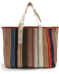 Maison Margiela - Striped Canvas Leather-trimmed Tote Bag - Lyst