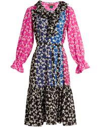 Duro Olowu - Nina Contrast Panel Ruffled Neck Crepe Dress - Lyst