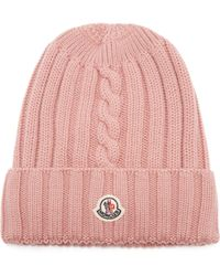 Moncler Ribbed Knit Wool Beanie Hat