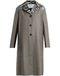 Prada - Contrast Collar Wool Blend Coat - Lyst