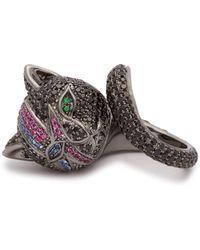 Lynn Ban - Bowie Cat Rhodium Plated Silver Ring - Lyst
