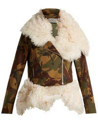 Preen By Thornton Bregazzi - Camouflage-print Shearling Biker Jacket - Lyst