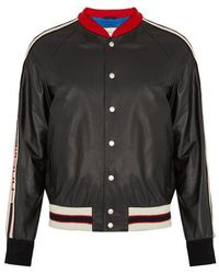 Gucci - Hollywood Appliqué Leather Bomber Jacket - Lyst