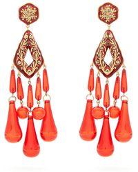 Etro - Crystal-embellished Teardrop Clip-on Earrings - Lyst