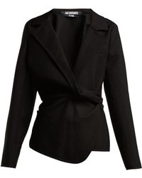 Jacquemus - Veste Baija Double-breasted Drape Wool Jacket - Lyst