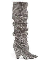 Saint Laurent - Niki Slouch Crystal-embellished Boots - Lyst