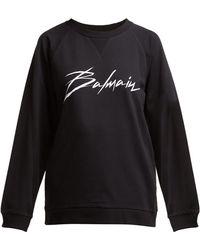 Balmain - Crewneck Signature Sweatshirt - Lyst