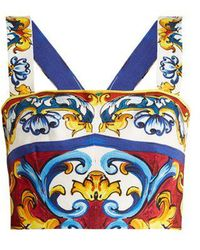 Dolce & Gabbana - Majolica-print Cotton-blend Cropped Top - Lyst