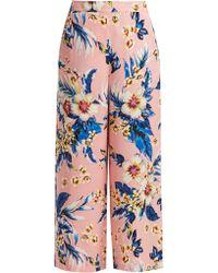 Diane von Furstenberg - Floral Print Wide Leg Trousers - Lyst