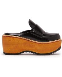 Marni - Leather And Wood Slip-on Flatform Loafers - Lyst