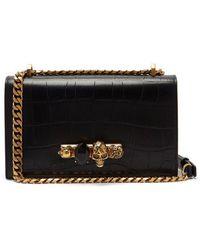 Alexander McQueen - Jewelled Crocodile-effect Leather Shoulder Bag - Lyst