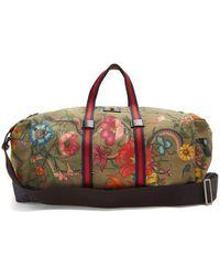 Gucci - Floral-print Web-striped Duffle Bag - Lyst