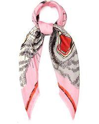 Gucci - Tiger Face-print Silk-twill Scarf - Lyst