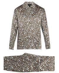 Meng - Cherry Blossom-print Silk-satin Pyjamas - Lyst