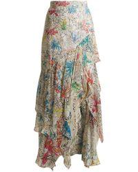Peter Pilotto - Asymmetric Floral Print Silk Georgette Skirt - Lyst
